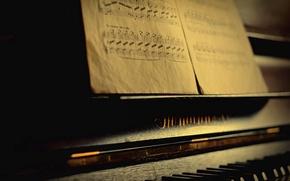 Картинка макро, ноты, пианино