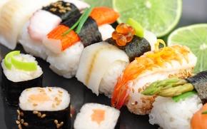 Картинка тмин, крабовая палочка, красная икра, роллы, морепродукты, лайм, суши