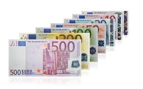 Картинка деньги, евро, ряд, валюта, купюра, банкноты, банкнота