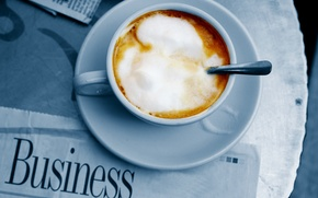 Картинка пенка, блюдце, кружка, сливки, газета, кофе, ложечка