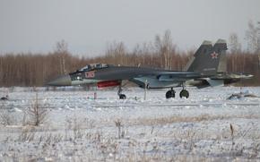 Картинка зима, снег, Истребитель, серийный, Су-35С, подготовка, предвылетная