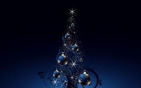 Обои елочные шары, holiday, свет, сияние, merry christmas, праздник, искры, new year, happy new year, елка, ...