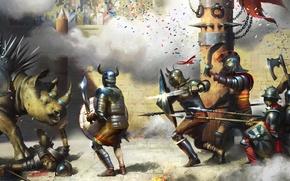 Обои оружие, труп, арт, гладиаторы, битва, стадион, меч, динозавр, щит, столб, Rhinoceros vs. Gladiators, доспех