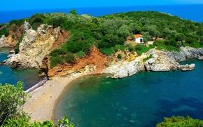 Картинка море, деревья, камни, побережье, Греция, домик, лагуна, Naxos, Agia Anna