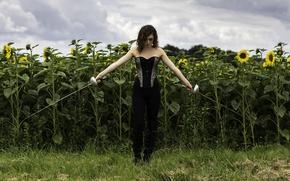 Обои поле, девушка, фигура, шпаги