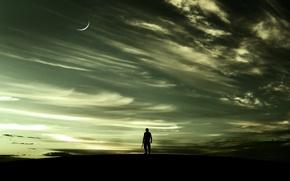 Картинка небо, закат, человек