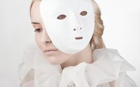 Картинка девушка, портрет, макияж, маска, behind the mask