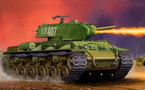 Картинка огонь, война, рисунок, арт, пулемёт, КВ-8С
