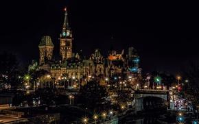 Обои Канада, ночь, башня, Оттава, огни