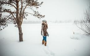 Картинка холод, зима, девушка, снег