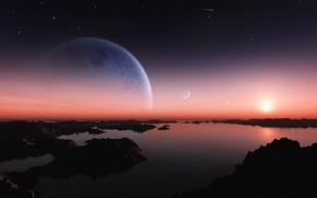 Картинка Солнце, Звезды, Свет, Земля, Планеты, Озера, Entanglement
