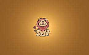 Картинка улыбка, животное, минимализм, лев, сидит, lion
