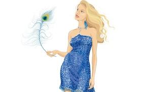 Картинка взгляд, девушка, стиль, вектор, платье, перо павлина