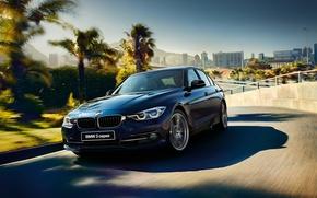 Обои синий, Sedan, 3-Series, седан, F30, BMW, бмв