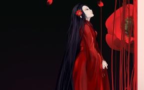Картинка лепестки, Гейша, черный фон, красный цветок, красное кимоно