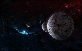 Картинка звезды, планеты, спутники, nebula, межзвездный газ