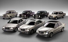 Обои mercedes-benz, ретро, много, автомобили