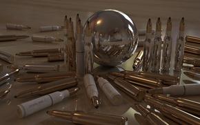 Обои патроны, отражение, гильзы, шар, пули, блеск