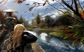Картинка девушка, облака, деревья, река, ветер, рисунок, арт, блондинка, длинноволосая