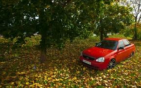 Картинка машина, авто, осень, листья, auto, LADA, Priora, ВАЗ, БПАН, Приора