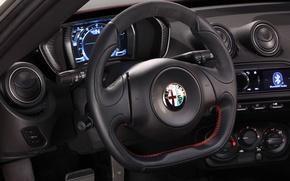 Картинка красный, руль, салон, launch edition, кожанный, Alfa Romeo 4c