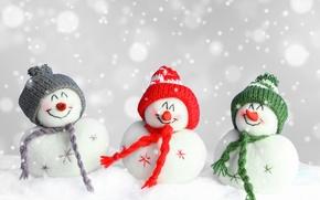 Картинка Новый Год, Рождество, снеговик, Christmas, winter, snow, Merry, decoraton