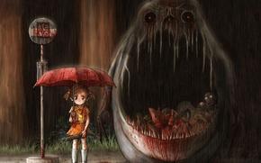 Картинка мясо, мой сосед тоторо, хоррор, кровища, tonari no totoro