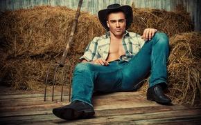 Картинка джинсы, шляпа, сено, рубашка, ковбой, парень, вилы
