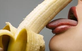 Картинка lips, banana, tongue, teeth