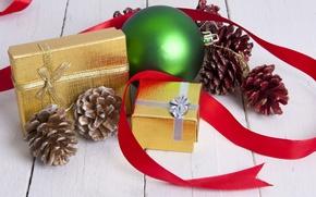 Картинка шары, Новый Год, Рождество, подарки, Christmas, шишки, New Year, decoration