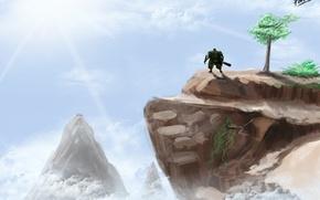 Картинка небо, природа, дерево, гора, арт, утёс, Dota 2, Earth Spirit, Kaolin, FADINFADIN