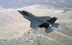Картинка земля, скорость, Истребитель, полёт, F-35