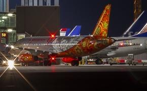 Картинка ночь, огни, аэропорт, Россия, самолёт, раскраска, Аэрофлот