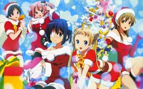 Картинка Девушки, Новый год, Ёлка, Chuunibyou Demo Koi ga Shitai!, Takanashi Rikka, Чудачество любви не помеха, …