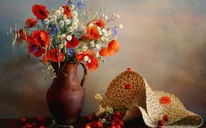 Картинка цветы, ягоды, маки, шляпа, колосья, кувшин, черешня, васильки, овёс