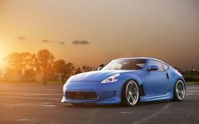 Картинка солнце, закат, синий, тюнинг, Nissan, блик, ниссан, blue, front, обвес, 370Z