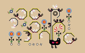 Картинка птица, узор, арт, творчество, вышивка