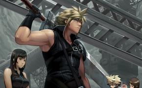 Обои оружие, взгляд, cloud strife, парень, final fantasy, agustinus, tifa lockhart, art, чиби, девушка