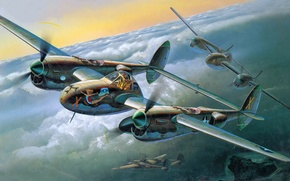 Картинка самолет, истребитель, арт, бомбардировщик, Lightning, P-38J, WW2.