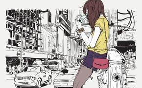Картинка дорога, девушка, машины, стиль, улица, волосы, вектор, сумочка