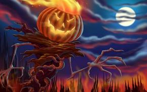 Картинка ночь, тыква, хеллоуин