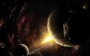 Обои планеты, космос, астероиды