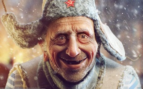 Картинка дед, снег, мужик, Sergii Andreichenko, Сергей Андрейченко, старик, ушанка, звезда