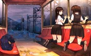 Картинка небо, облака, свет, горы, девушки, дождь, игрушка, аниме, арт, портфель, школьницы, брелок, sono
