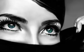 Картинка взгляд, девушка, макро, лицо, волосы, рука, зеленые глаза