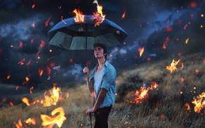 Картинка conceptual, surreal, selfportrait, raining fire