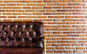 Обои Armchair, bricks, wall