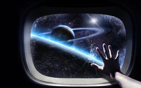 Обои Космос, рука, иллюминатор