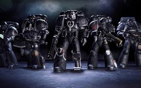 Картинка оружие, солдаты, команда, броня, топор, бойцы, Warhammer 40K: Deathwatch - Tyranid Invasion, Games Workshop, Караул …