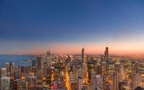 Картинка закат, lights, огни, Чикаго, Chicago, skyline, sunset, streets, линия горизонта, Chicago skyline, панорама улицы
